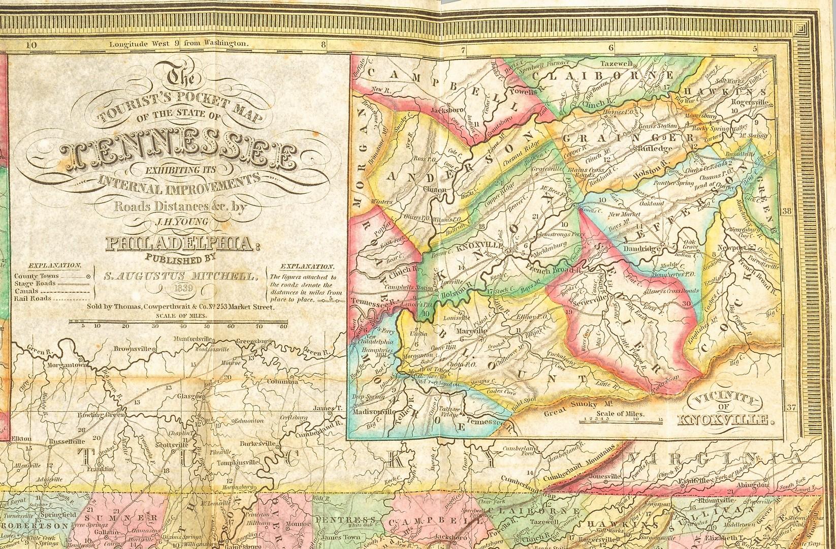Lot 573: Mitchell's Pocket Map of TN, 1839