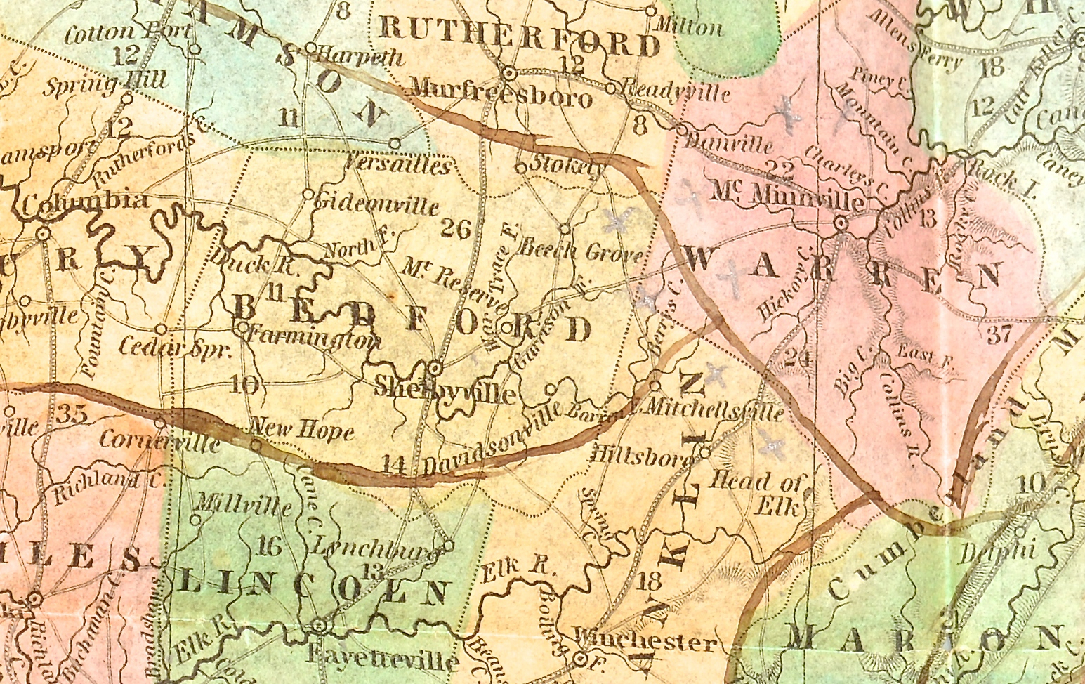 Lot 573: Mitchell's Pocket Map of TN, 1839