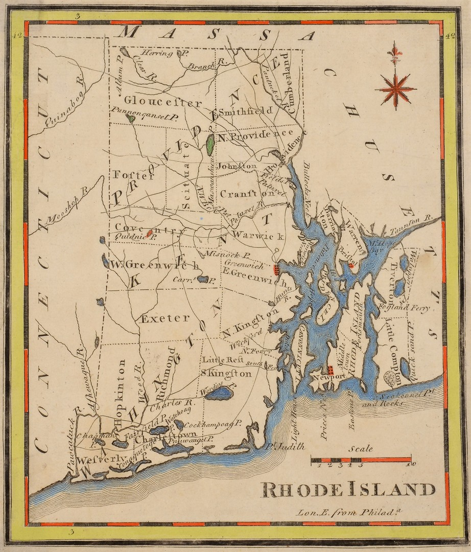 Lot 577: 3 Hand-Colored Engraved New England Maps