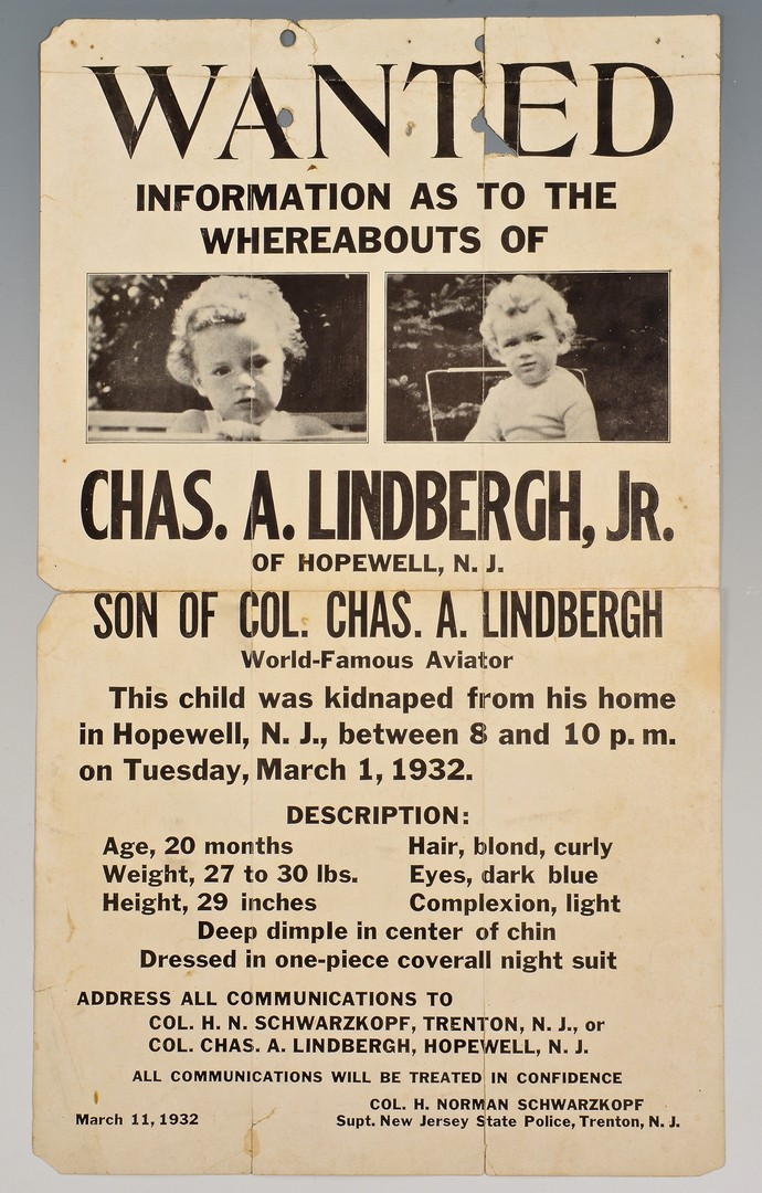 Lot 578: Lindbergh Baby Kidnappers Poster & Law Enforcement