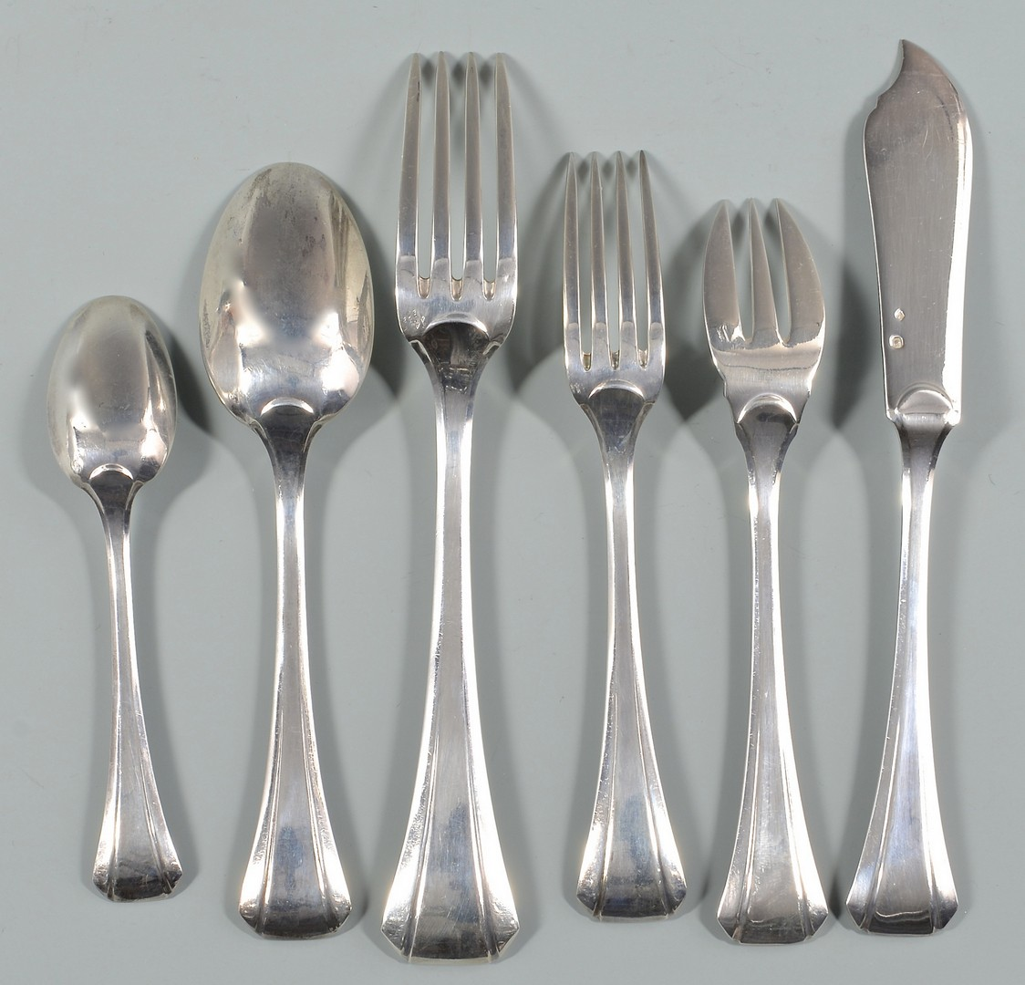 Lot 57: 77 Pcs. Tetard Freres Sterling Flatware set
