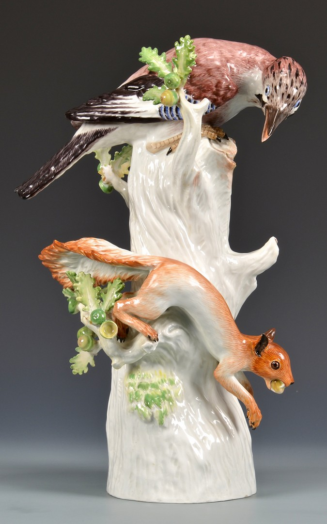 Lot 582: Meissen Bird and Squirrel Figure
