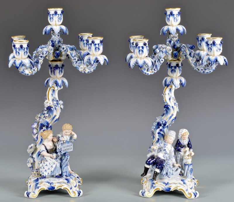 Lot 585: Pair Meissen Candelabra