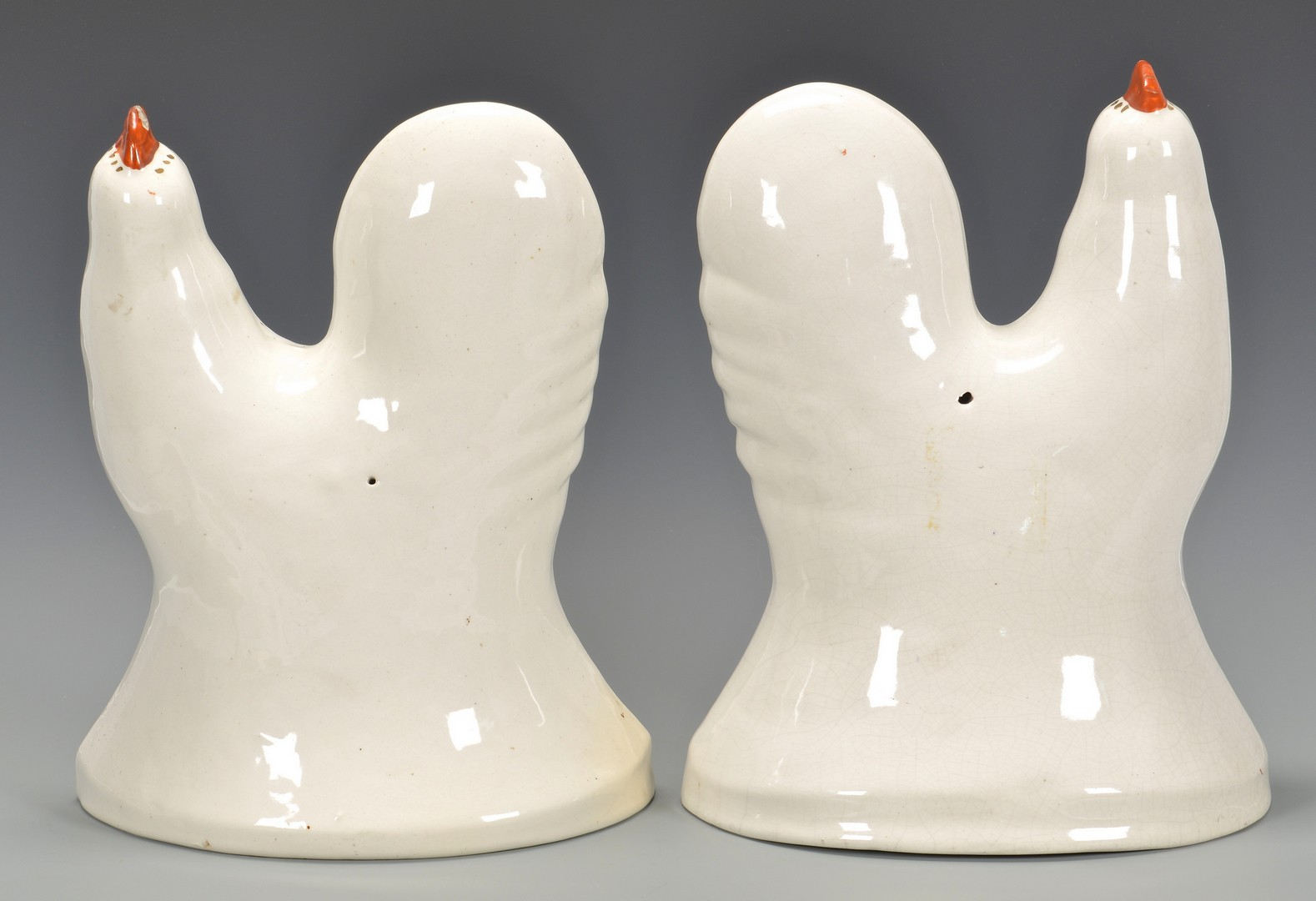 Lot 589: Pair English Staffordshire Roosters or Cockerels