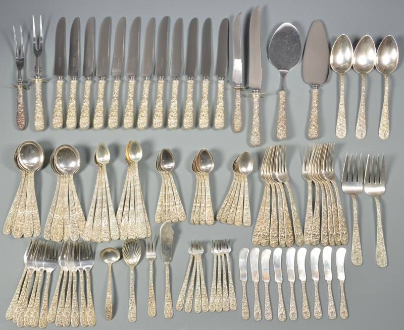 Lot 58: S. Kirk & Son Repousse flatware, 108 pcs