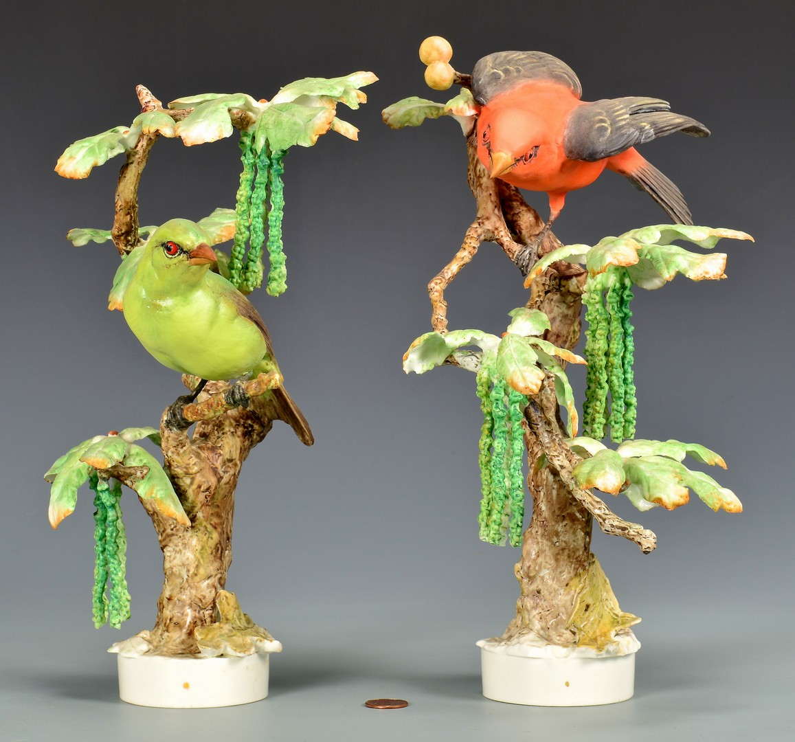 Lot 591: Pair Dorothy Doughty Scarlet Tanagers
