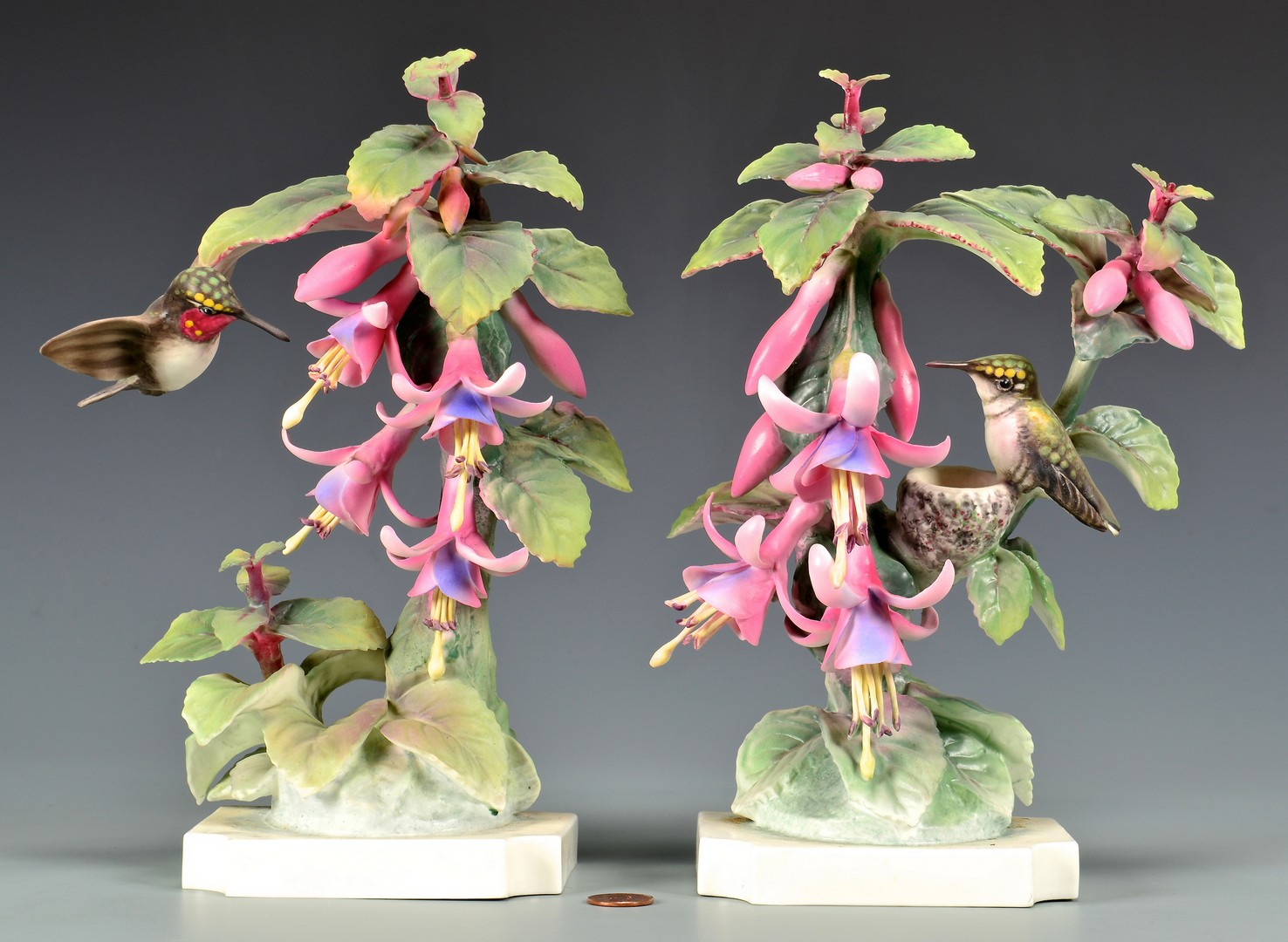 Lot 593: Pr. Dorothy Doughty Ruby Throated Hummingbirds