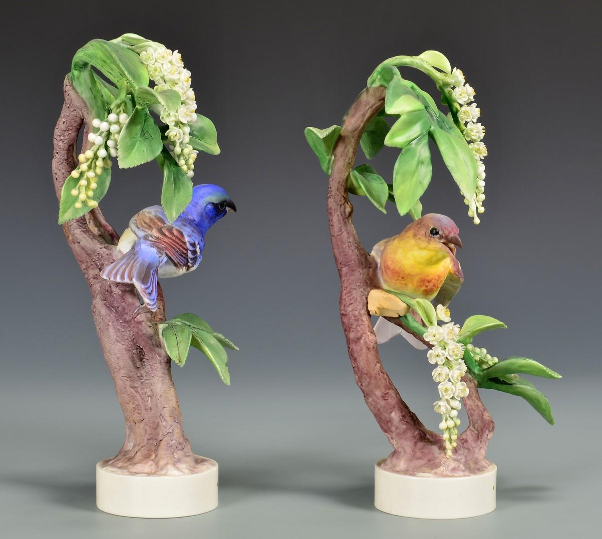 Lot 594: Pair Dorothy Doughty Birds, Lazuli Bunting