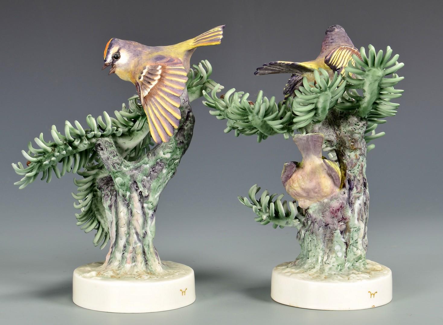 Lot 596: Pair Dorothy Doughty Birds, Kinglet Golden Crowns