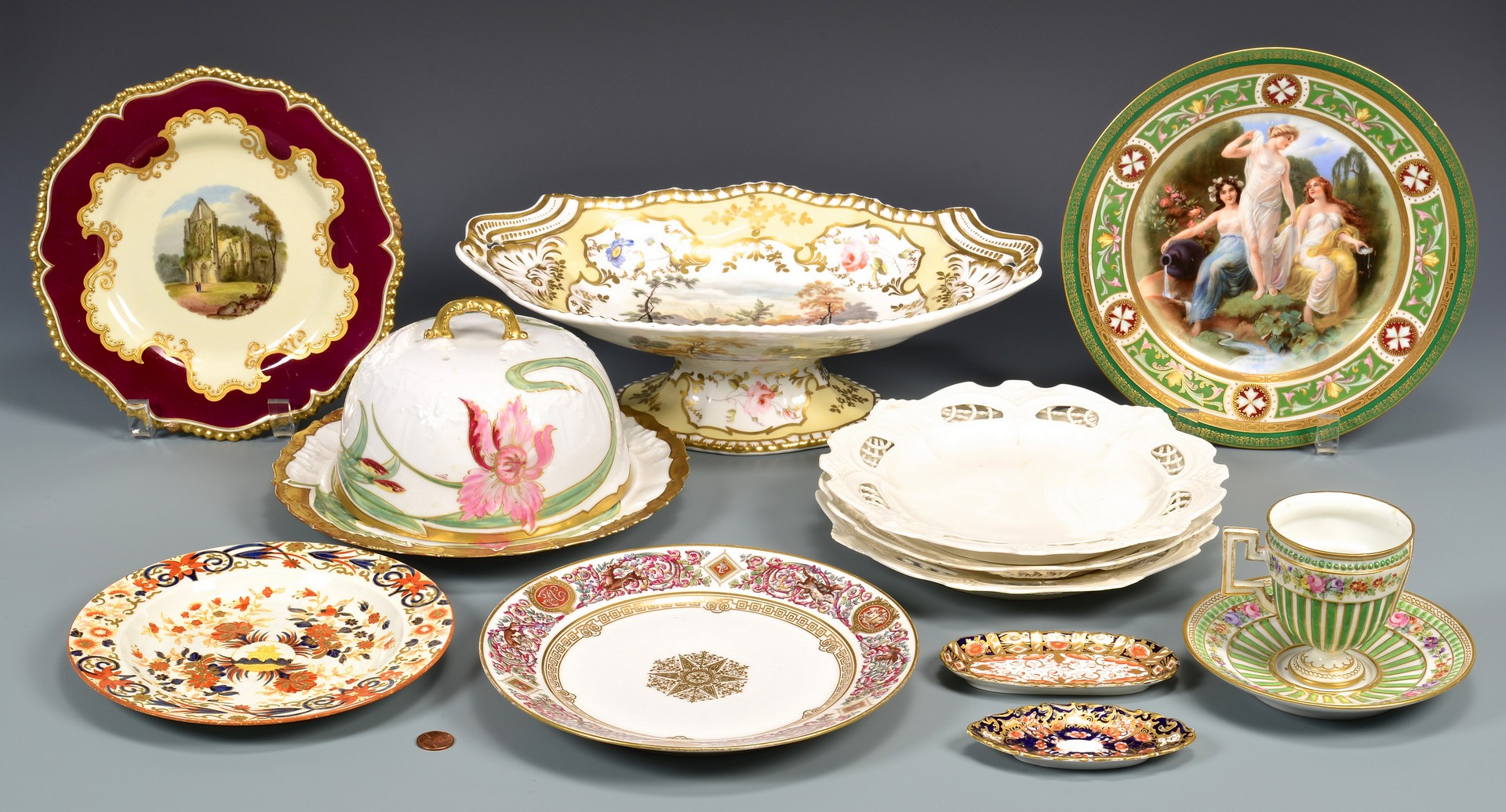Lot 603: Group of English, French, German Porcelain, 11 tot