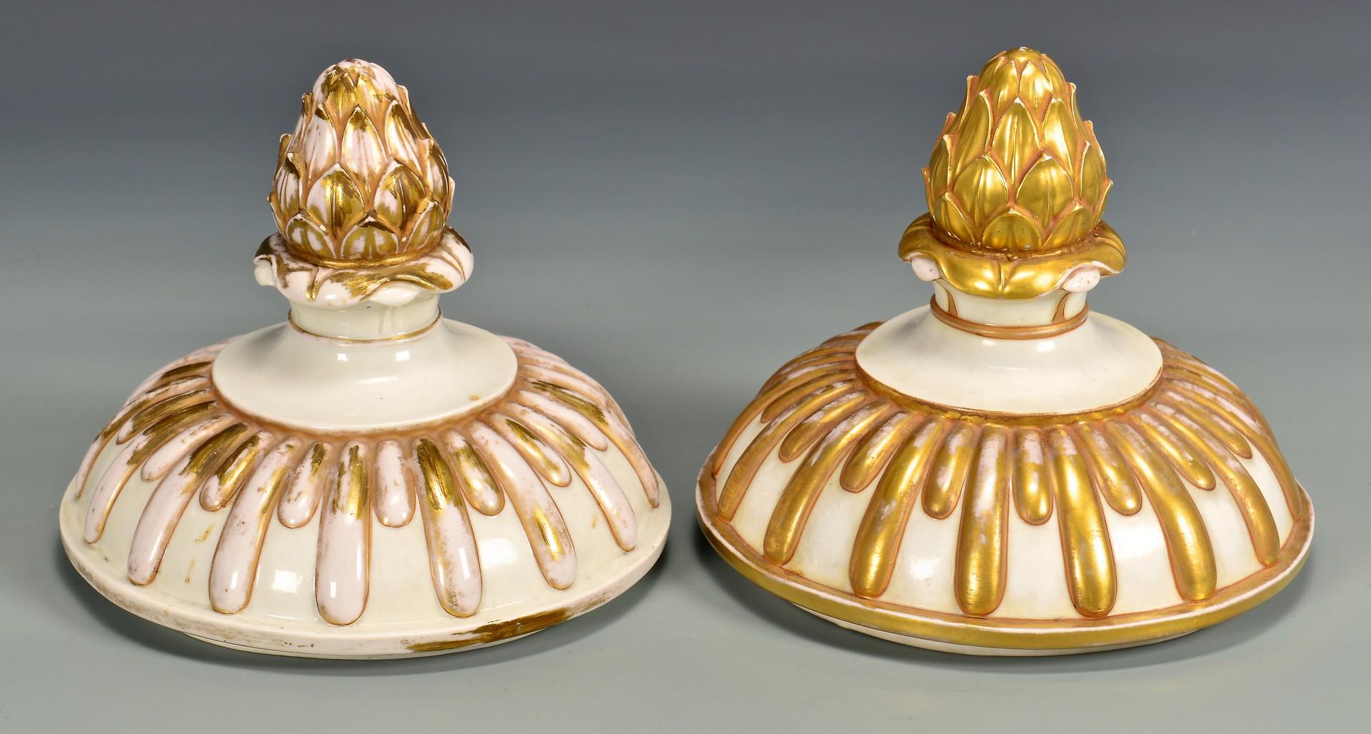 Lot 604: Large Pair Naples Porcelain Covered Urns
