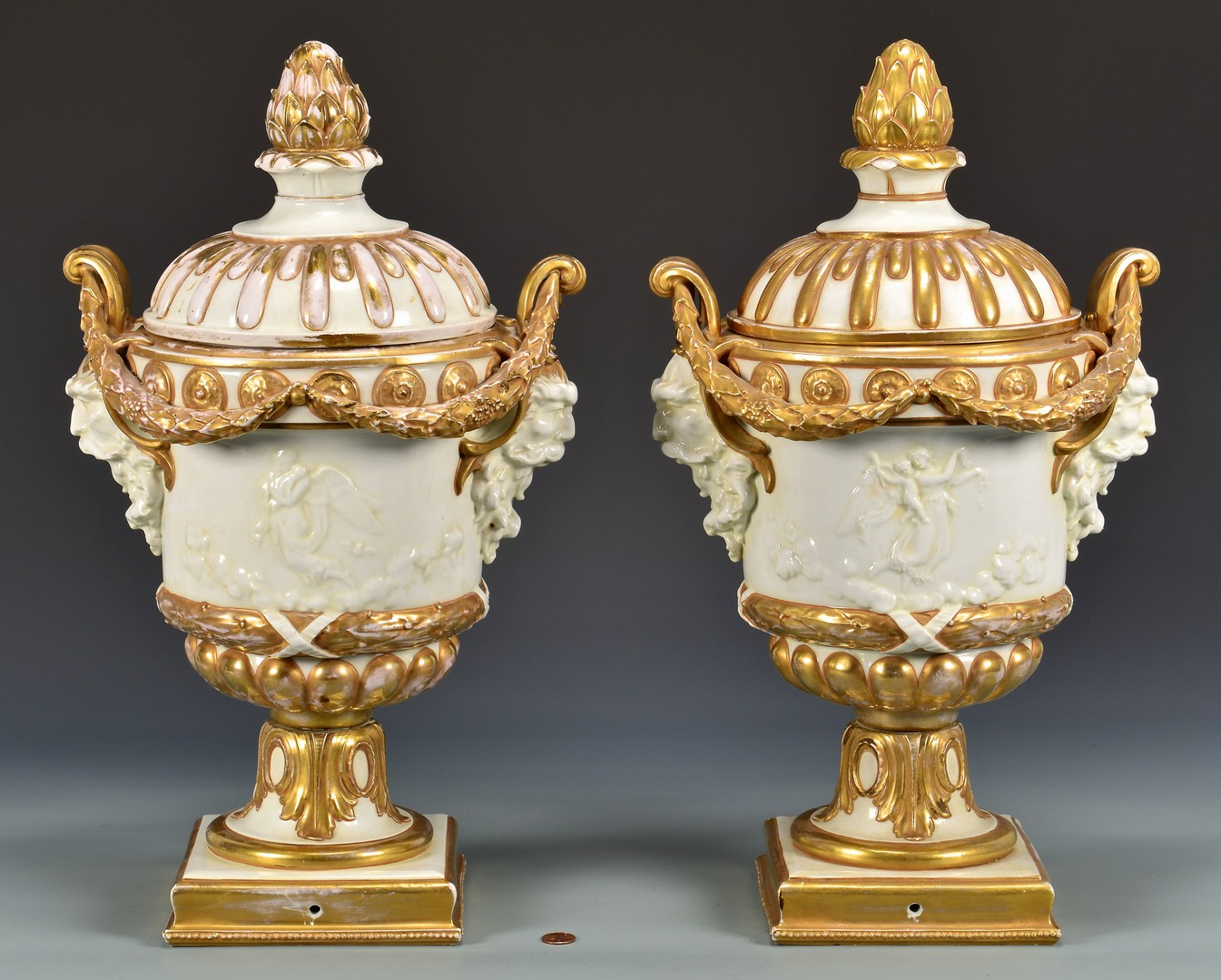 Lot 604: Large Pair Naples Porcelain Covered Urns
