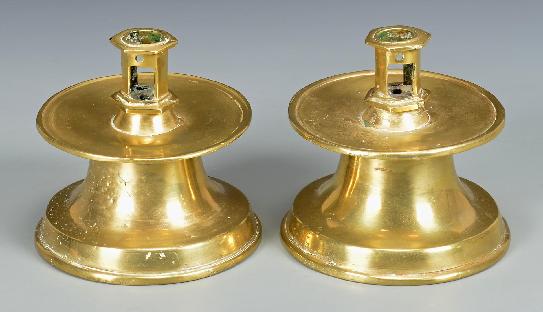 Lot 609 Pr Brass Capstan Candlesticks