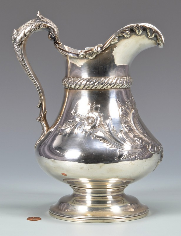Lot 60: Bailey Sterling Silver Pitcher, c. 1855