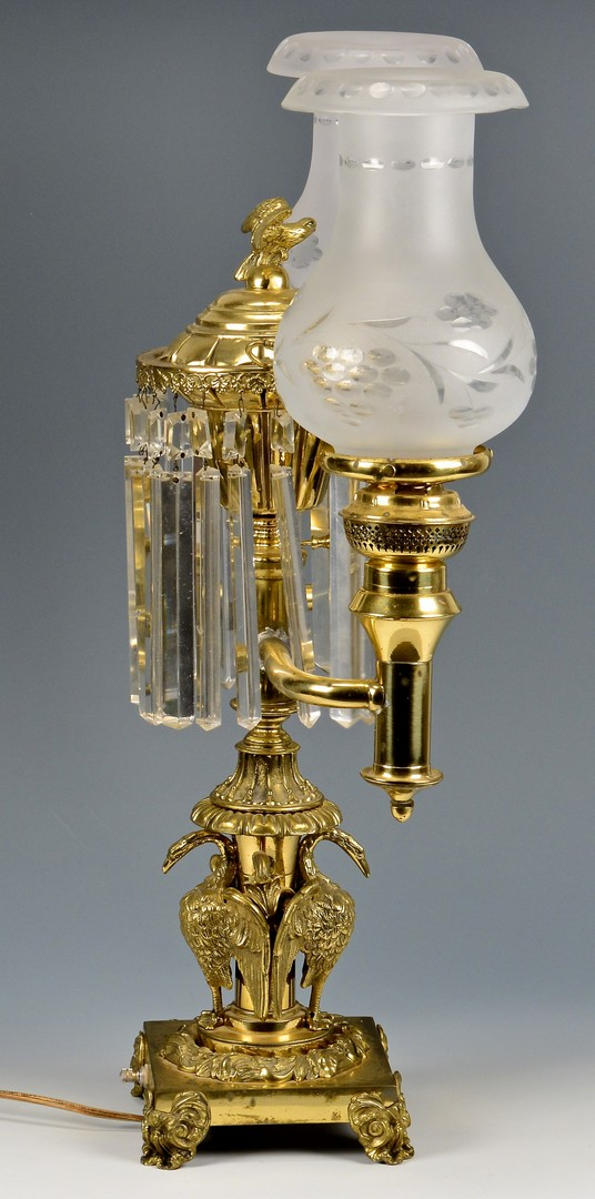 Lot 610: Double Argand Lamp with Pelican or Swan Base