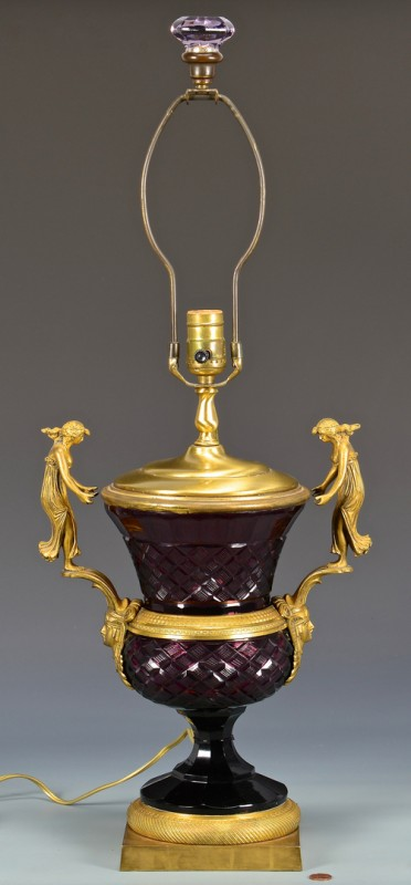 Lot 613: Gilt Bronze Mounted Amethyst Cut Glass Vase