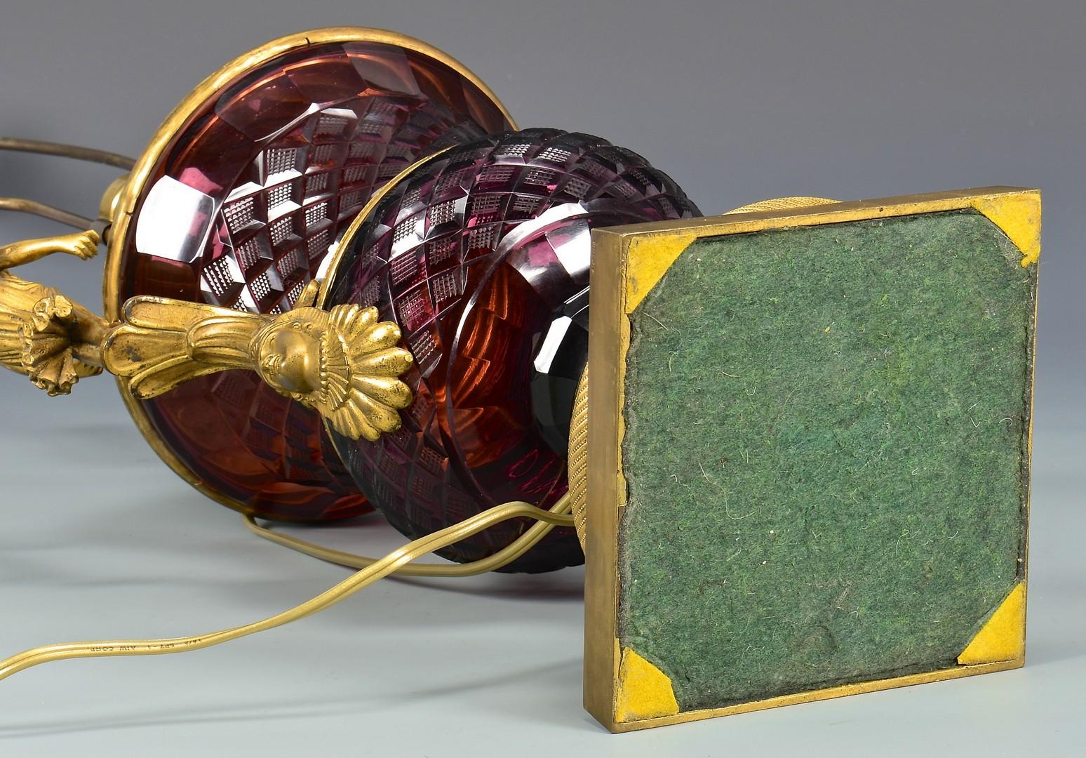 Lot 613: Gilt Bronze Mounted Amethyst Cut Glass Vase