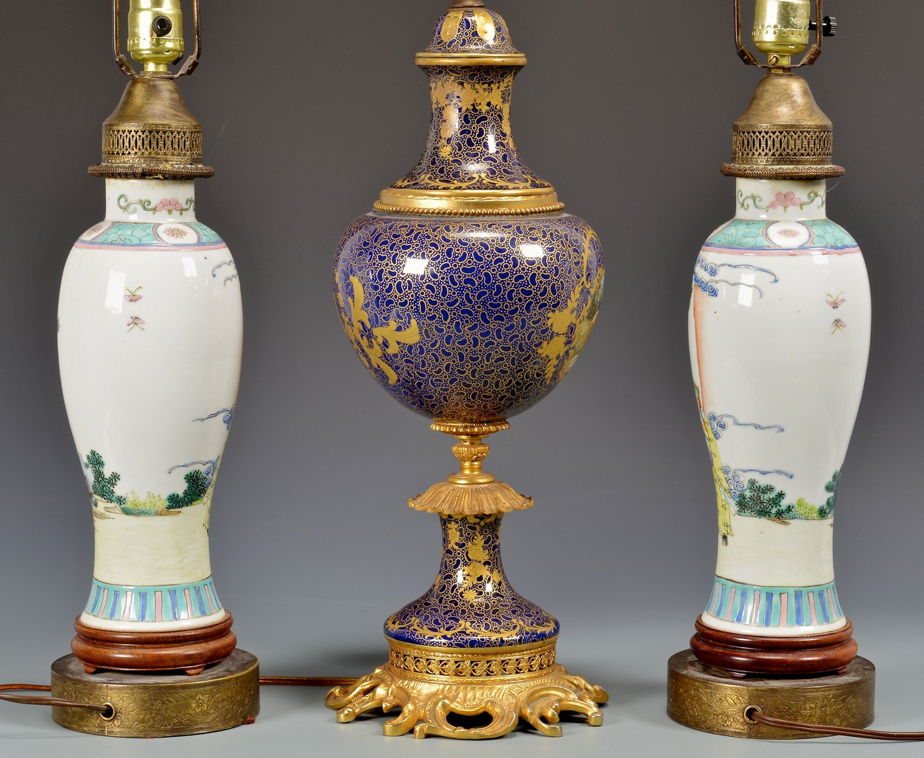 Lot 617: 3 Lamps, Chinese and French