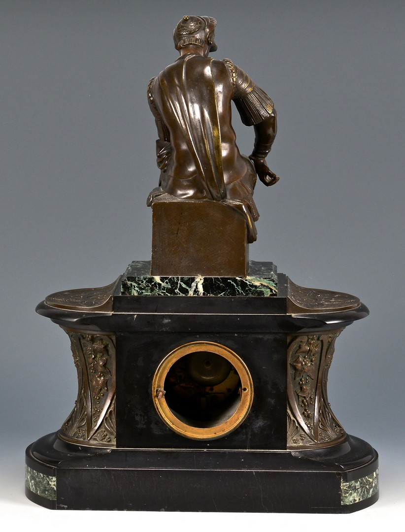 Lot 622: French Bronze & Marble Mantle Clock