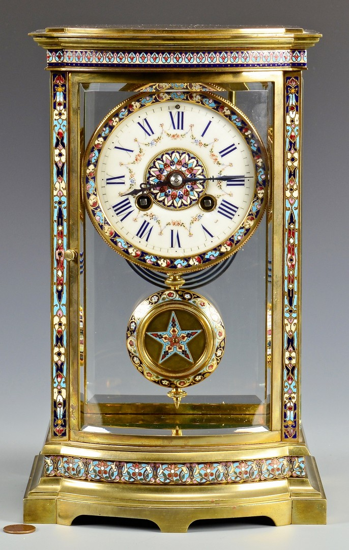 Lot 624: Samuel Marti Champleve and Brass Regulator Clock