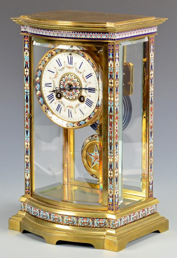 Lot 624: Samuel Marti Champleve and Brass Regulator Clock
