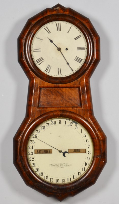 Lot 630: Seth Thomas Double Dial Calendar Clock