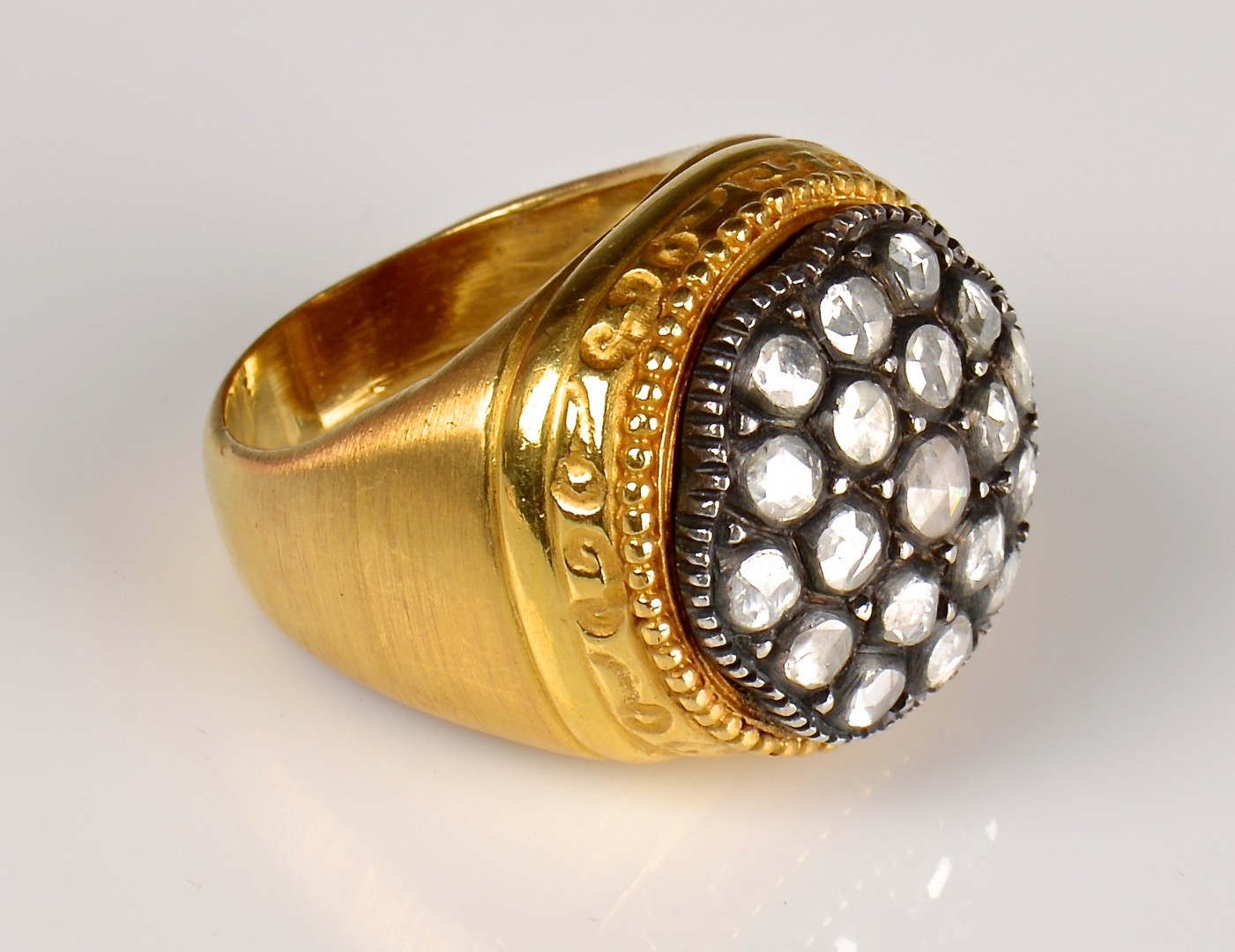 Lot 63: 22K Etruscan style Ring with Rose Cut Diamonds