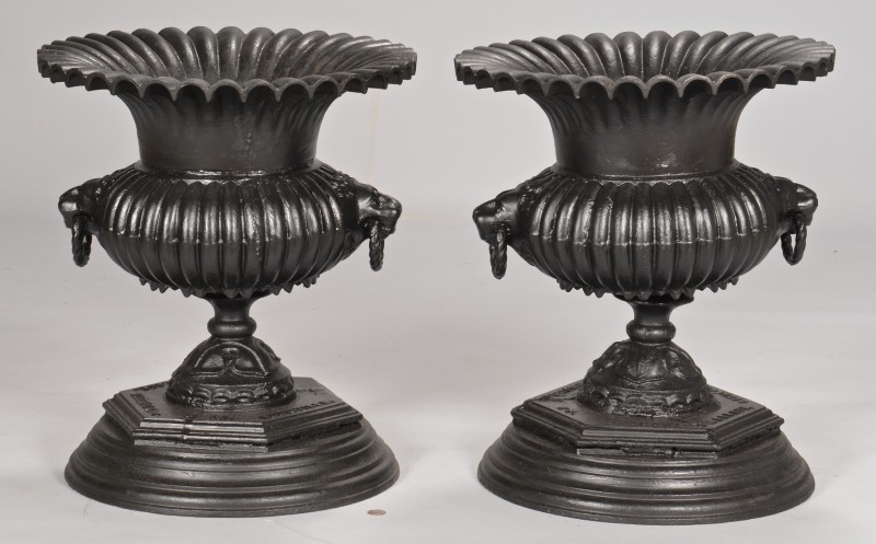 Lot 641: Pair Of Louisville, KY Marked Garden Urns