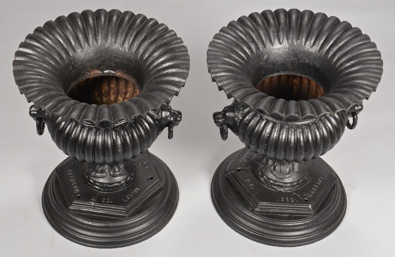 Lot 641: Pair Of Louisville, KY Marked Garden Urns