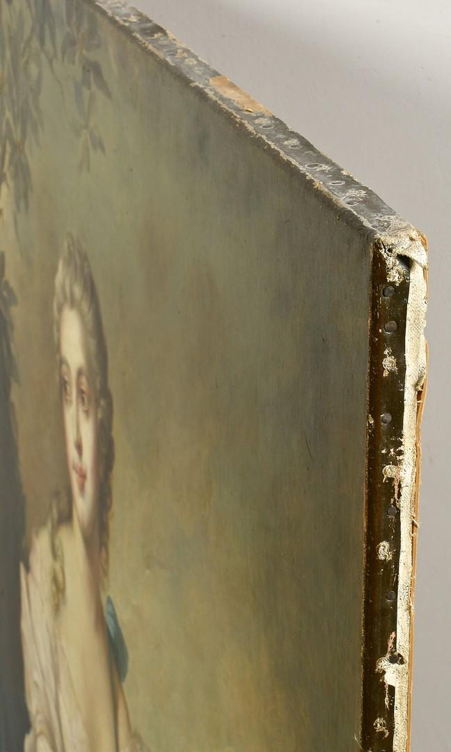 Lot 647: Large Portrait of European Female in Satin Pink Dr