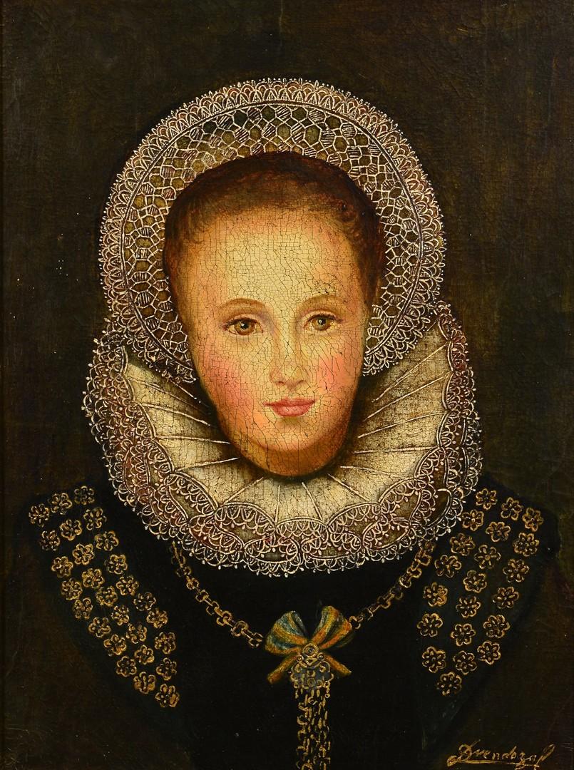 Lot 648: Diana Mendoza Oil on Canvas Portrait
