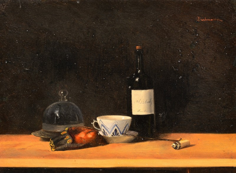 Lot 649: Karl Bachmann Still Life Study on Panel