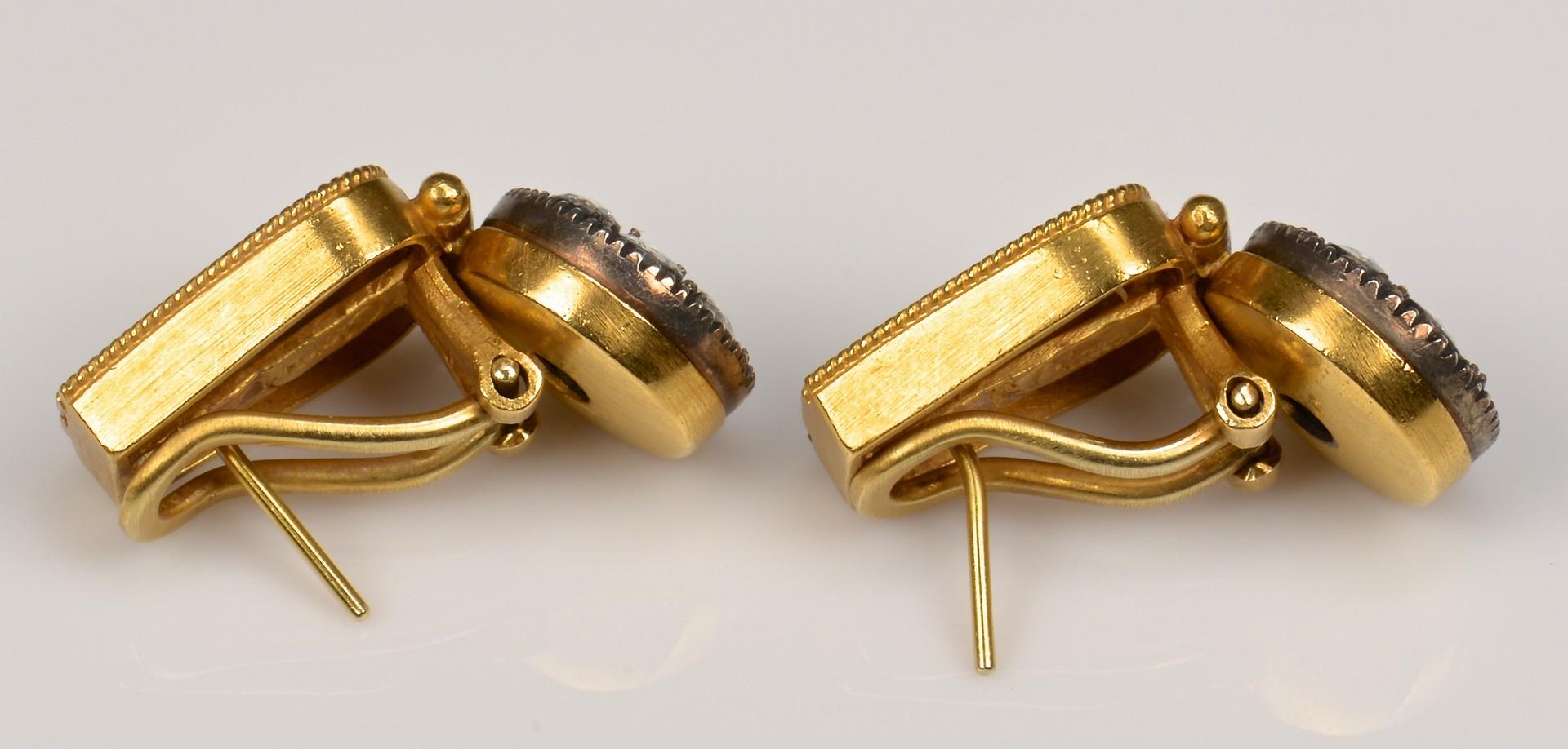 Lot 64: 22K Etruscan style Rose Cut Dia Earrings