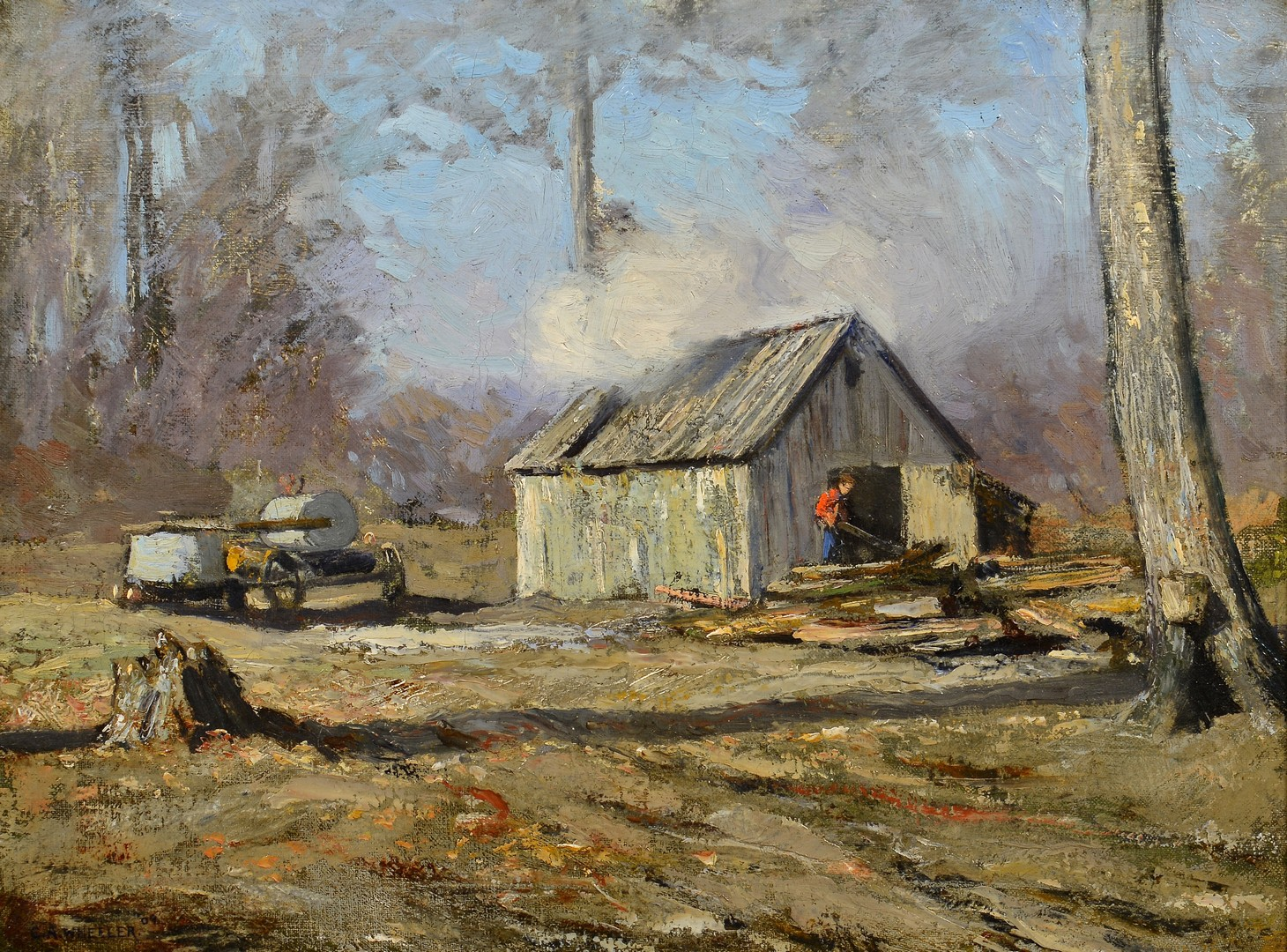 Lot 650: Clifton Wheeler O/C Landscape, Splitting Wood