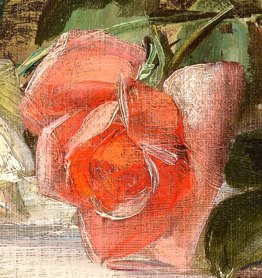 Lot 651: Patty Thum Oil on Canvas Still Life with Two Roses