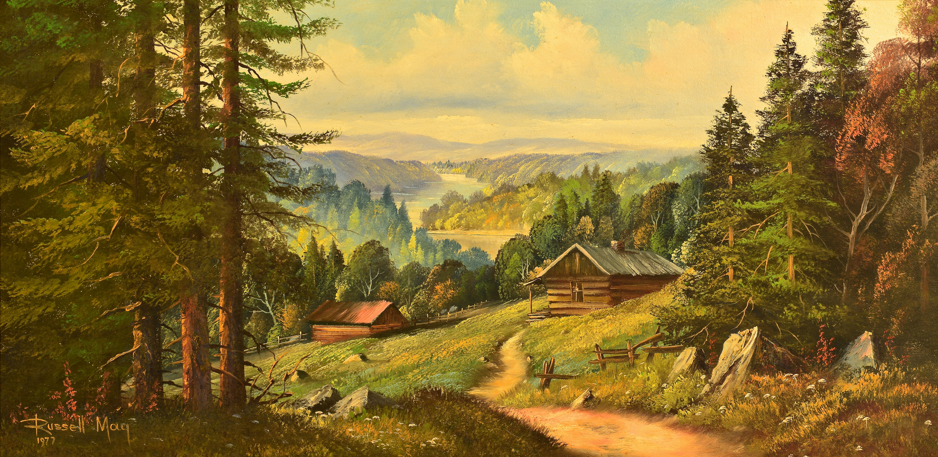 Lot 655 Russell May Oil On Canvas Mountain Scene