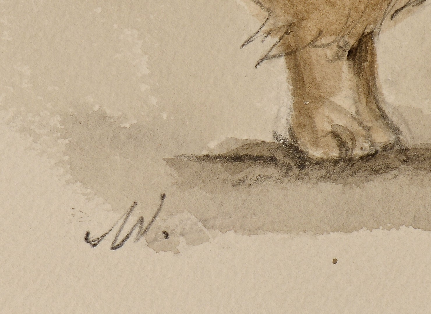 Lot 659: Two Werner Wildner Watercolors, dog and owl