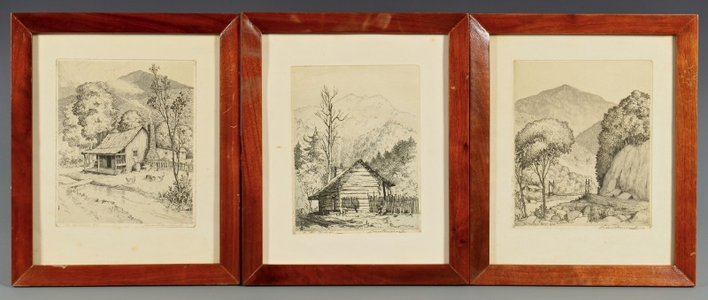 Lot 667: 3 Leon Pescheret TN Mountain Scene Etchings