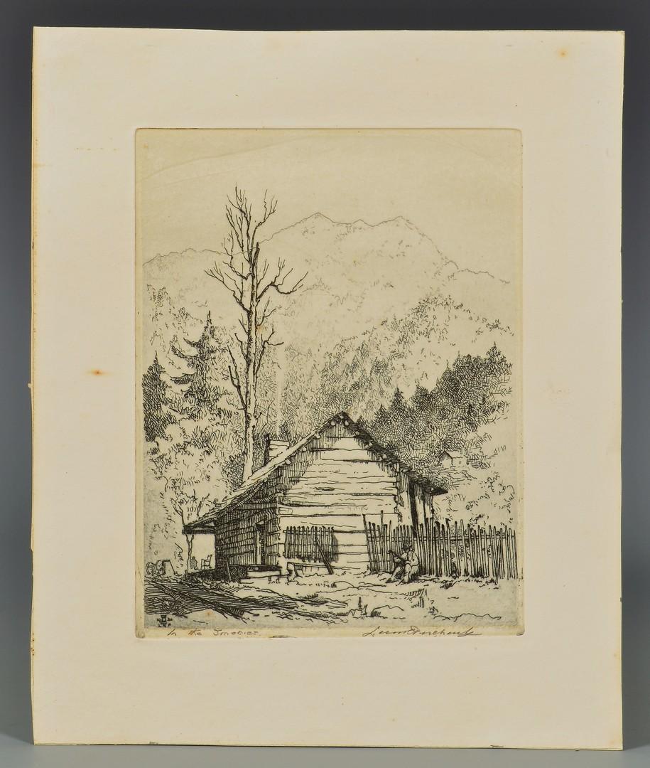 Lot 667: 3 Leon Pescheret TN Mountain Scene Etchings