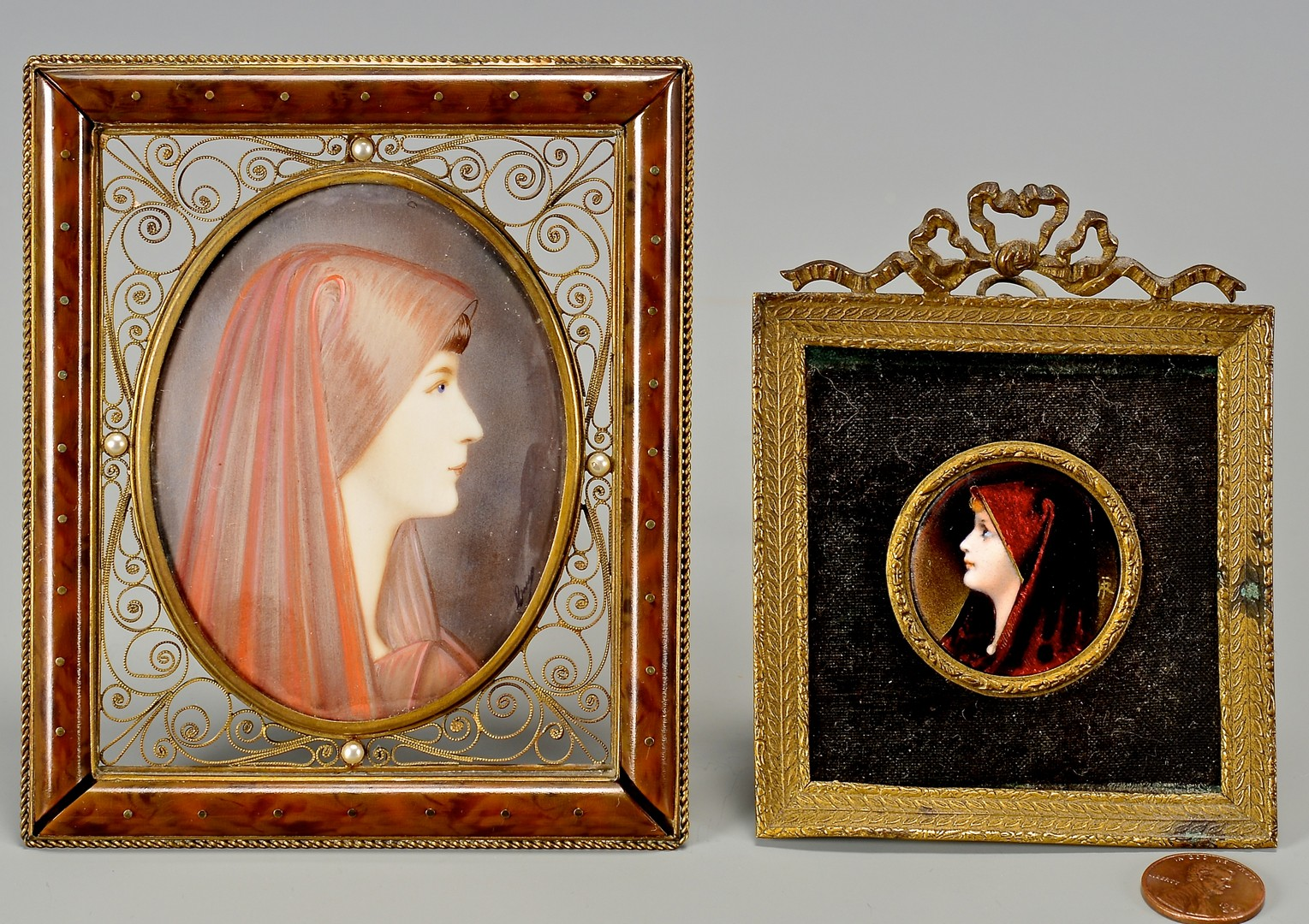 Lot 669: 2 Miniature Portraits of Females in Red Head Scarv