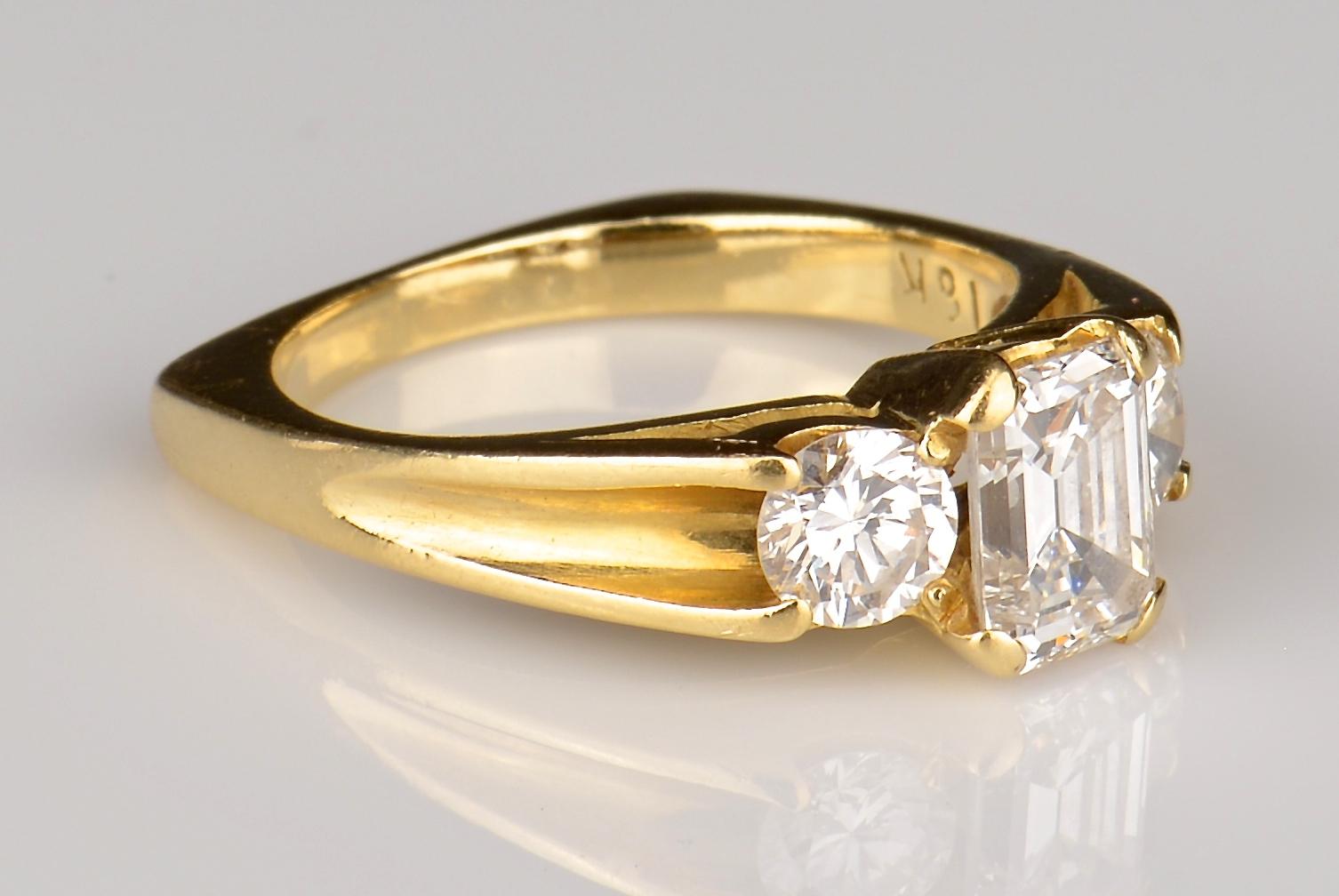 Lot 66: 18K 3-Stone Diamond Ring