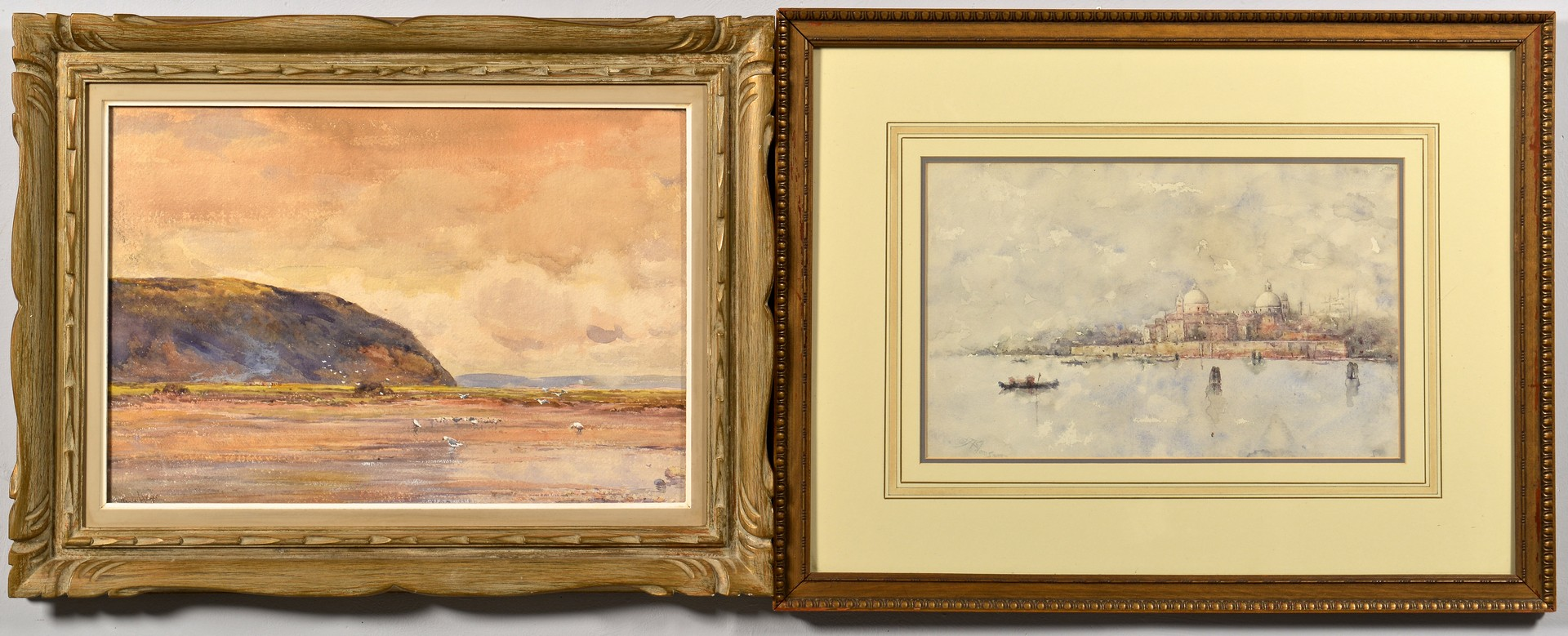 Lot 672: Two Watercolor Seascapes, signed