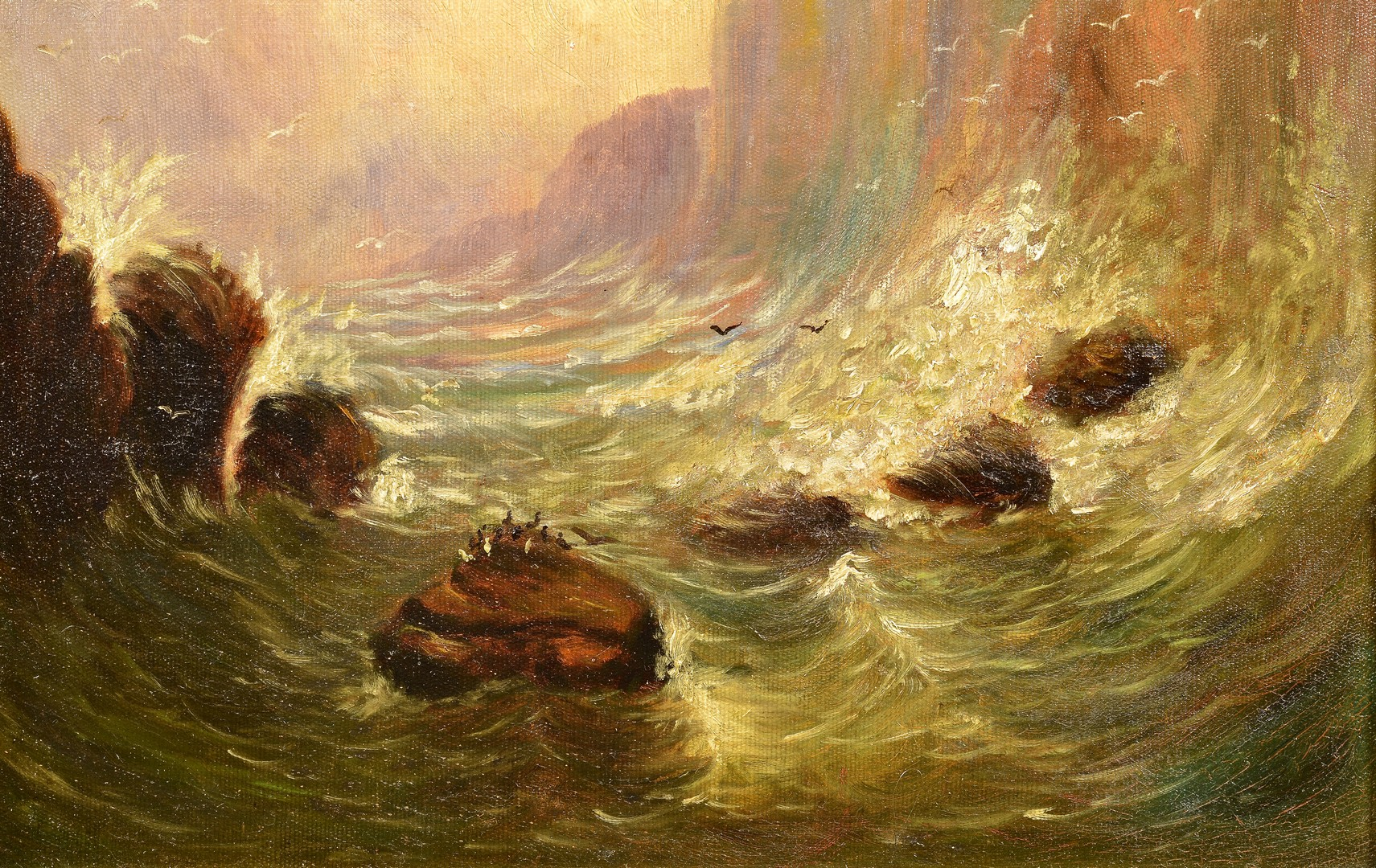 Lot 673: Oil on canvas. poss. Fingal's Cave