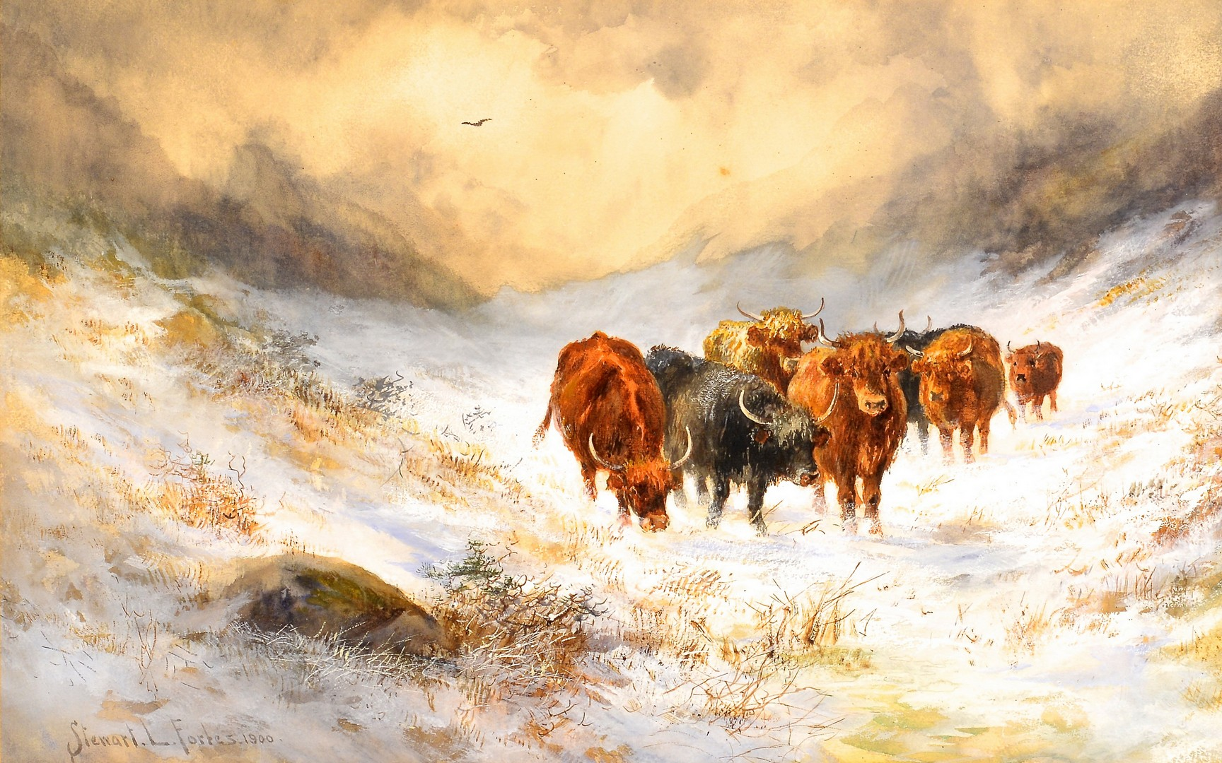 Lot 675: Stewart Forbes watercolor, Cattle in Snow