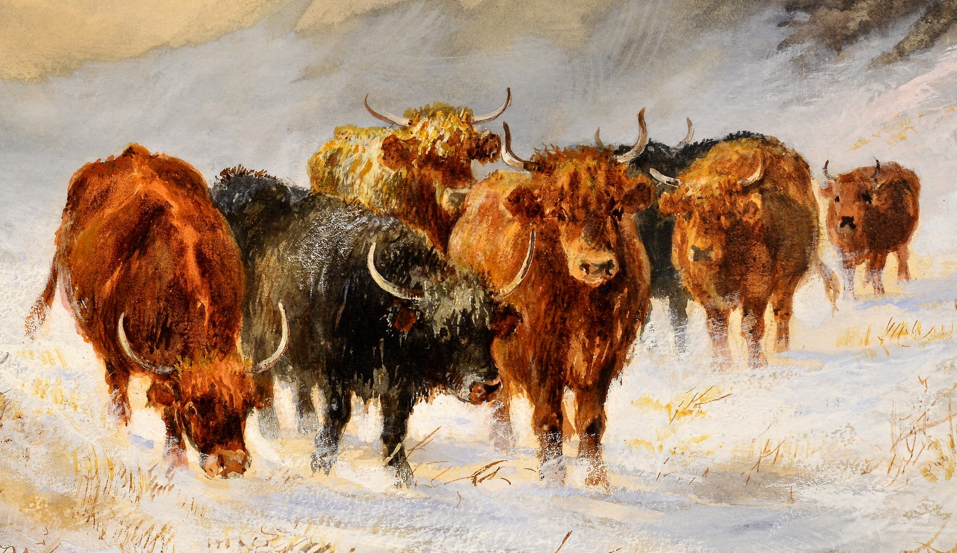 Lot 675: Stewart Forbes watercolor, Cattle in Snow