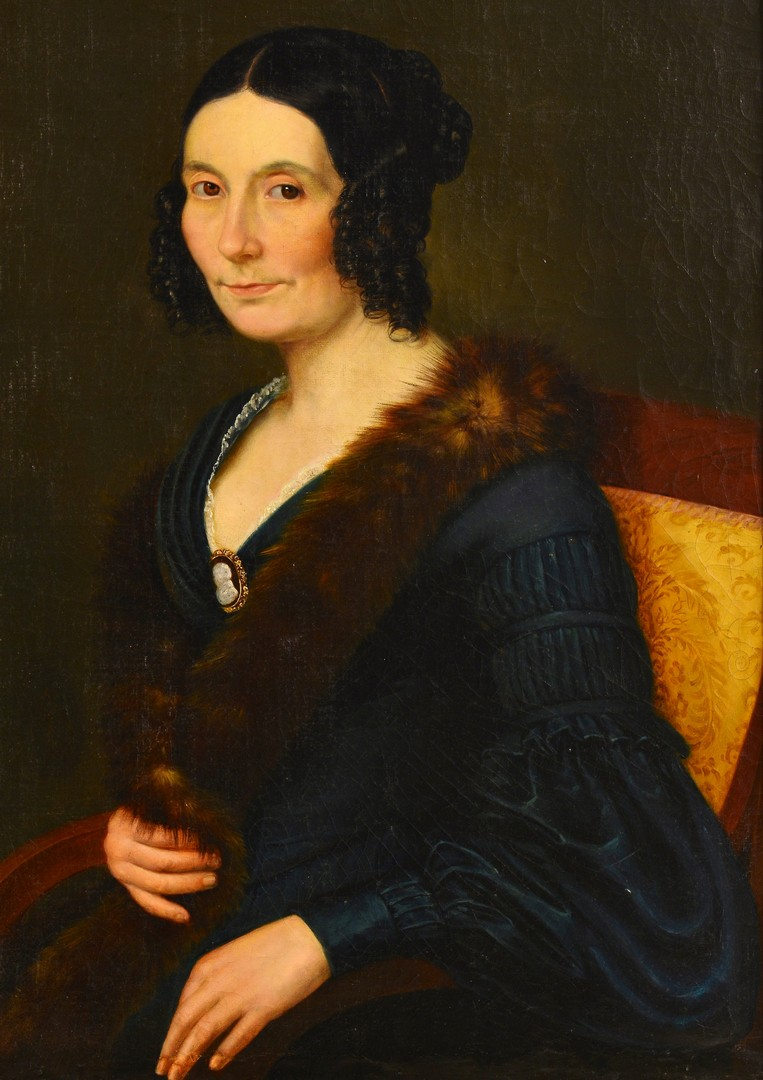 Lot 677: Portrait of Woman with Fur and Cameo