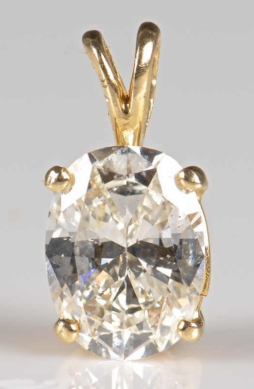 Lot 67: 1.68 ct. Oval Diamond Pendant