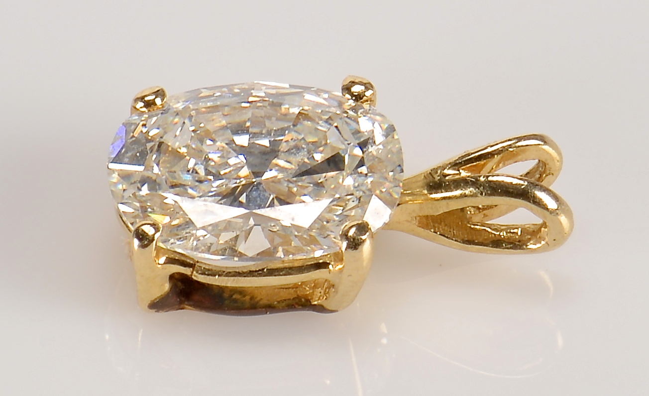 Lot 67: 1.68 ct. Oval Diamond Pendant