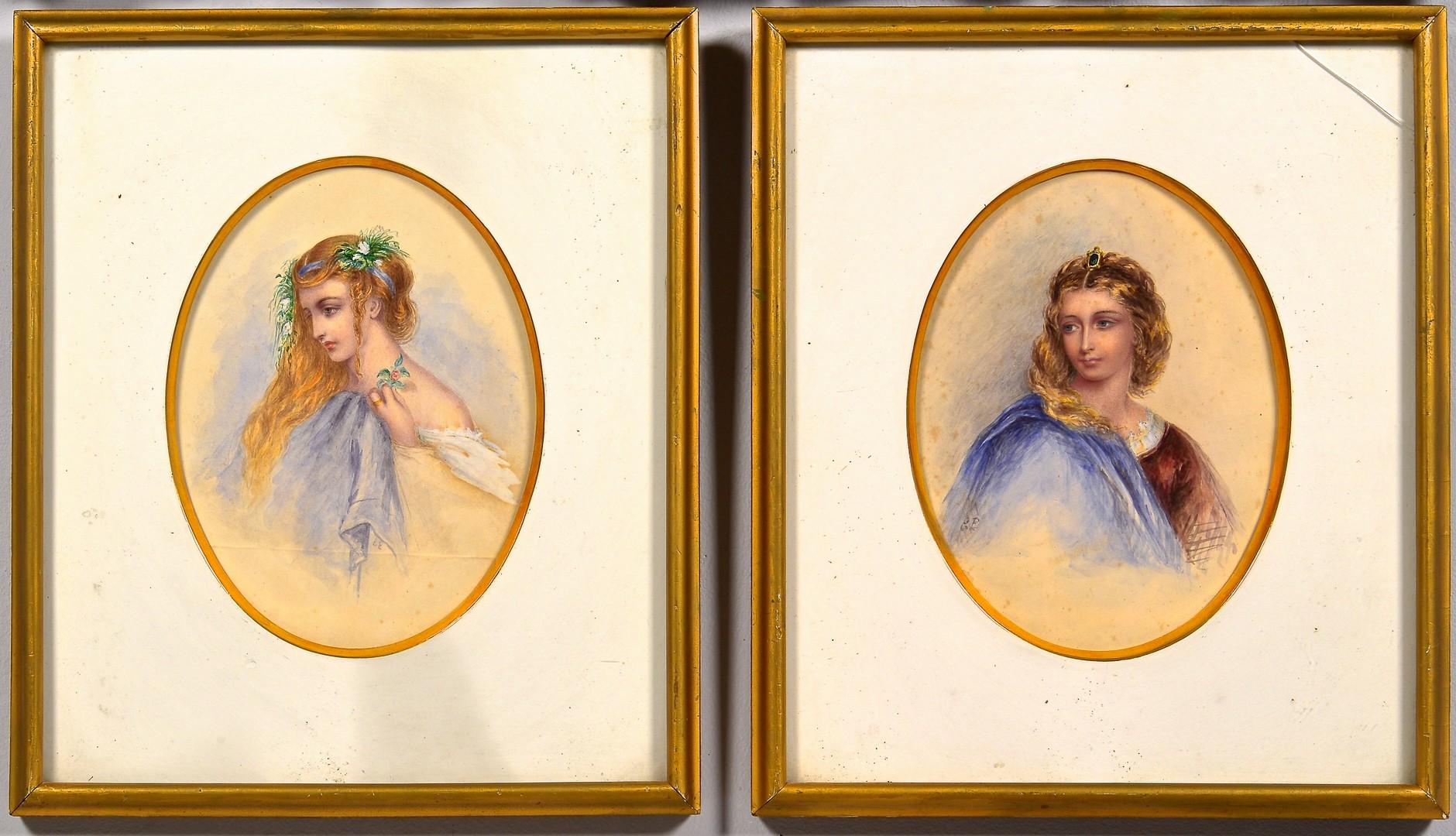 Lot 680: 4 Watercolor portraits inc. Hoppner Meyer