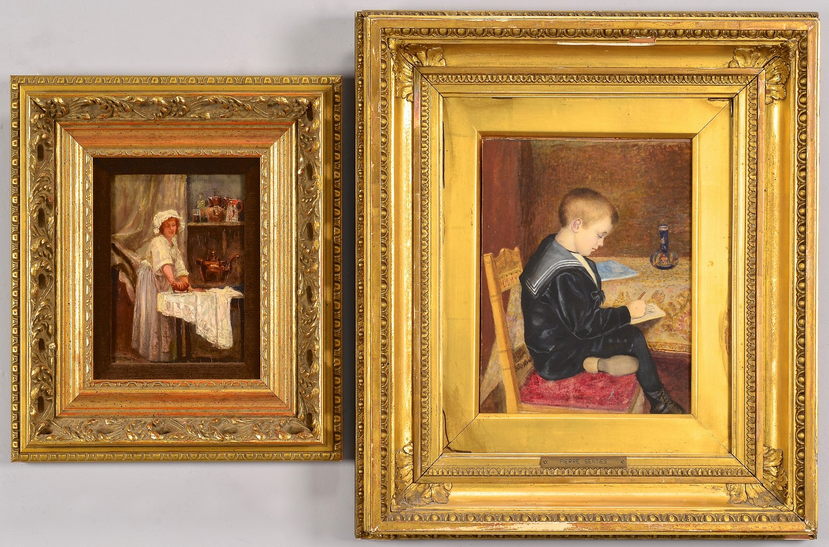 Lot 681: Two European Genre Paintings
